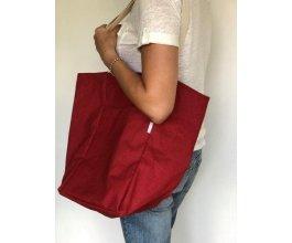 Lněná nákupní taška červená L