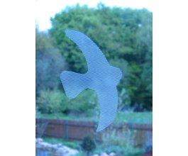 Ptačí siluety na sklo 9 ks bílé s průhlednými pruhy
