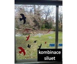 Ptačí siluety na sklo 9 ks - bílé