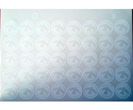 Samolepky kolečka se siluetou bílé - 40 ks