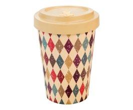 Woodway - opakovaně použitelný kelímek z bambusu na kávu s sebou Retro diamonds beige 400 ml