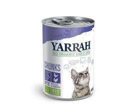 Konzerva pro kočky Kuřecí a krůtí kousky ve šťávě 400g - Yarrah BIO