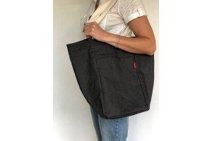 Lněná nákupní taška tmavě šedá L