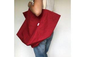 Lněná nákupní taška červená XXL