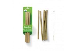 Bambusová brčka – sada 6 ks vč. kartáčku