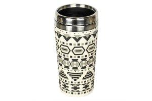 Woodway - Dekorační kelímek z bambusu a nerezu Aztec white/black 500ml