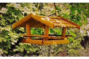 Krmítko velký domek s rákosovou střechou - na zavěšení