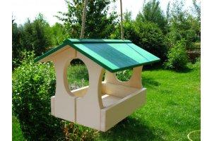 Ptačí krmítko domek - závěsné - zelené