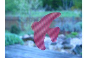 Ptačí siluety na sklo 9 ks červené s průhlednými pruhy