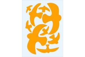 Ptačí siluety na sklo 9 ks - oranž