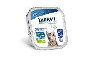Kuřecí kousky s rybou ve šťávě - Pro kočky Yarrah BIO 100g