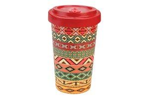 Woodway - dekorační kelímek z bambusu Aztec Orange Red 500 ml