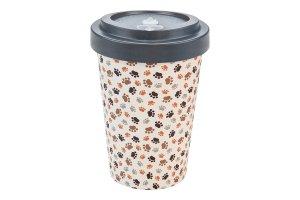 Woodway - opakovaně použitelný kelímek z bambusu na kávu s sebou Paws Grey 400 ml